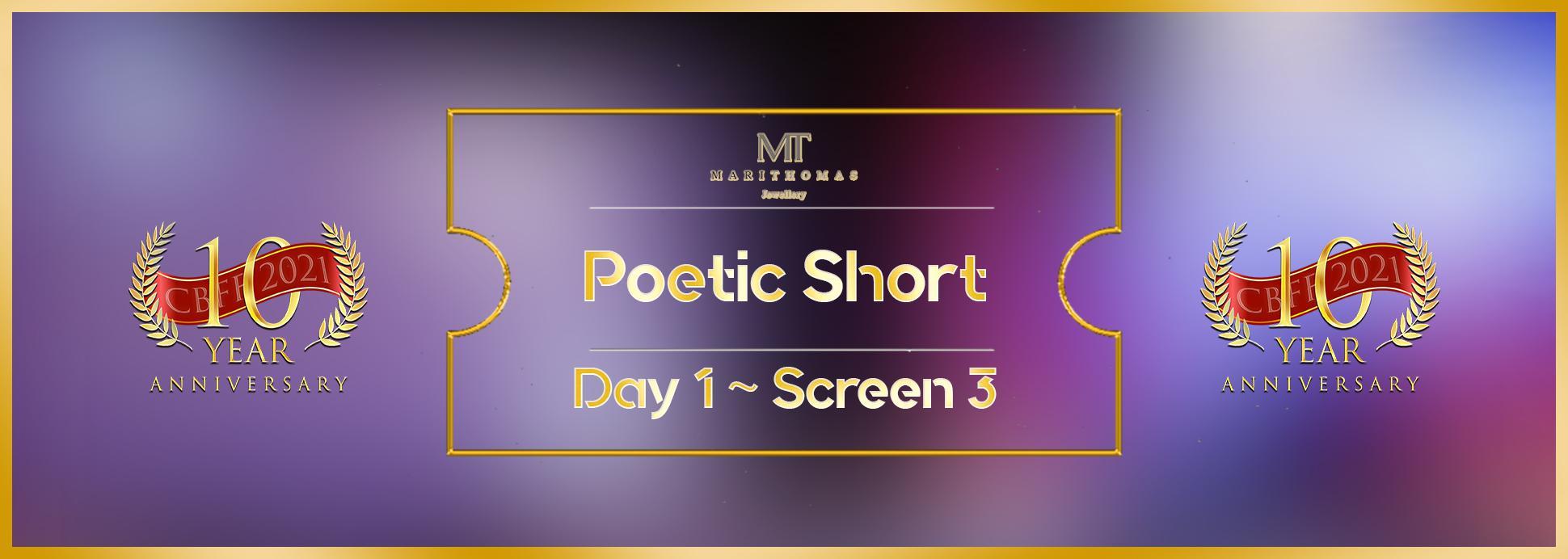Day 1, Screen 3: Poetic short