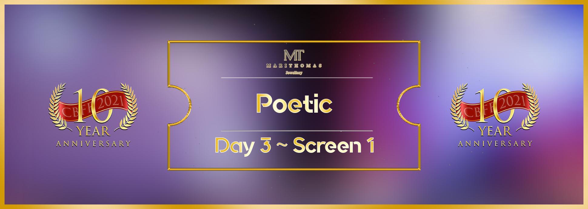 Day 3, Screen 1: Poetic Short Film